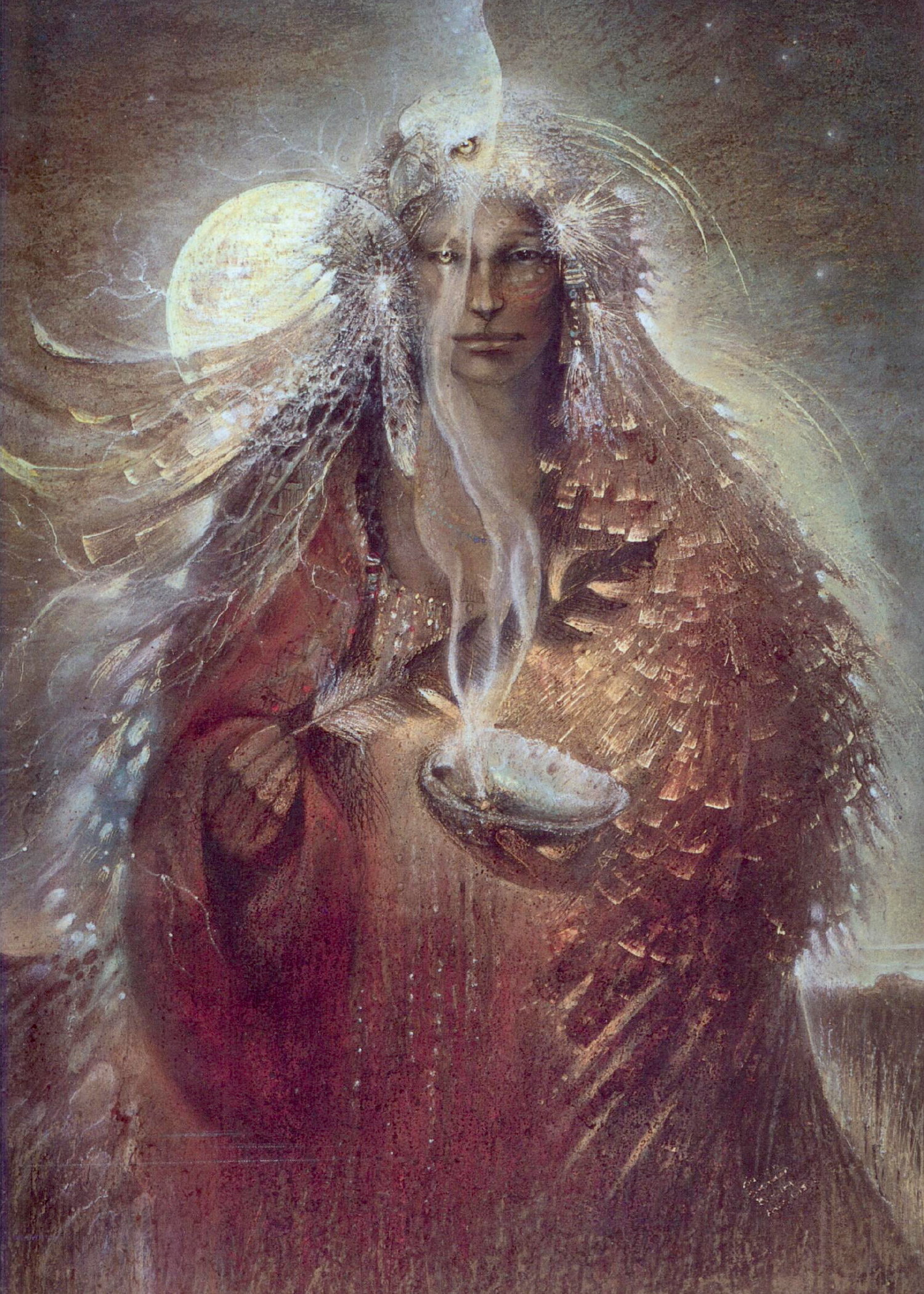 Painted image by Susan Sedan Boulet. Image of shaman woman smudging.
